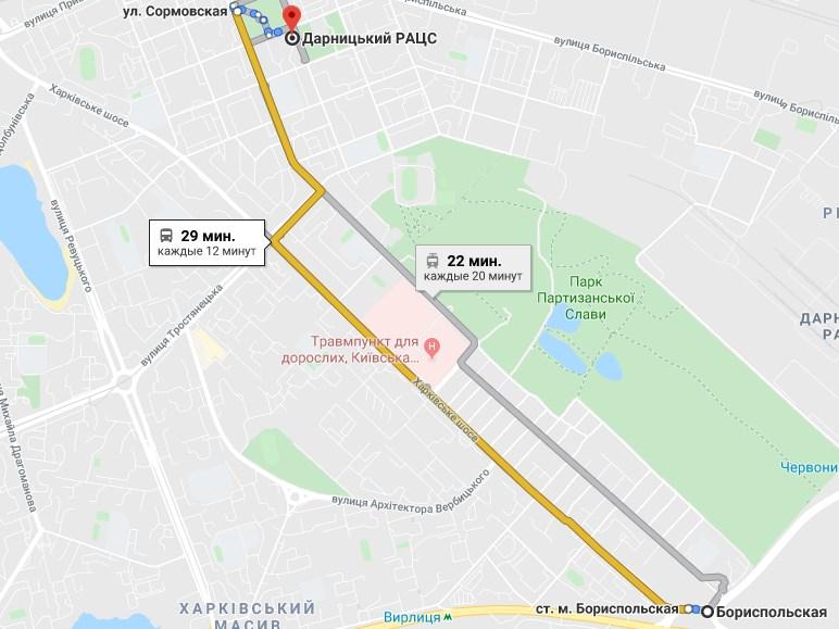 Карта проезда Дарницкий ЗАГС от метро Бориспольская